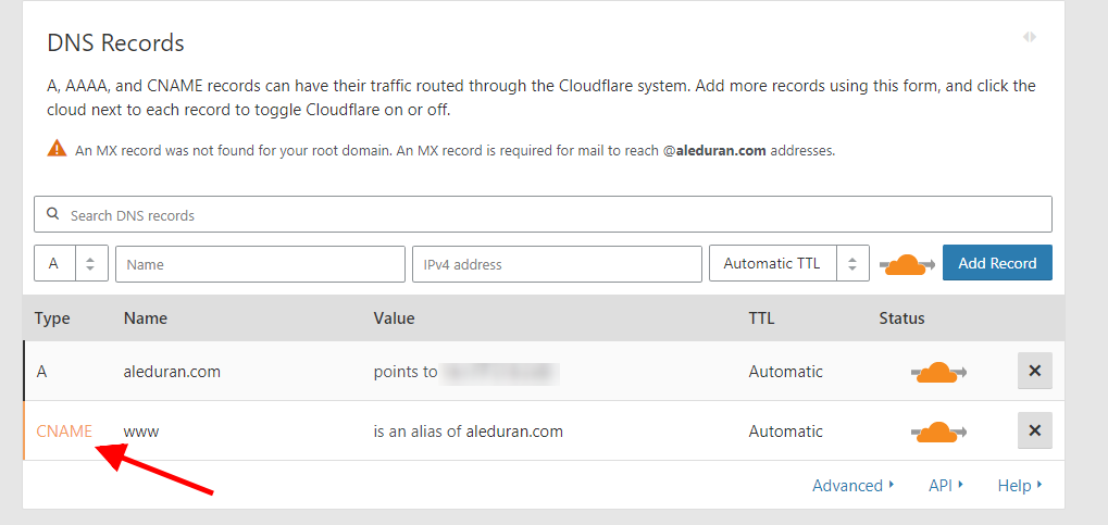 Cloudflare CNAME www